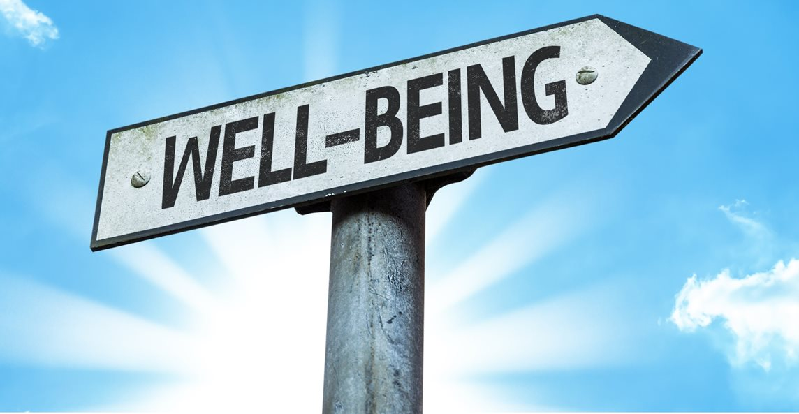 Roadsign pointing to the right with 'Well-being' written on it